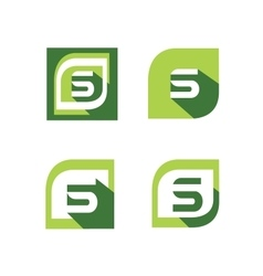 Green letter s logo set vector image
