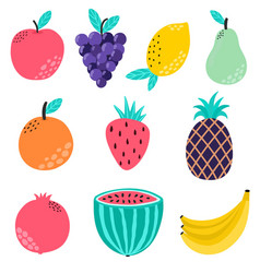 hand drawn fruits collection isolated elements vector image
