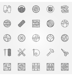 Hand made line icons vector image