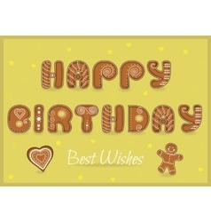 Happy birthday Best wishes Gingerbread font vector