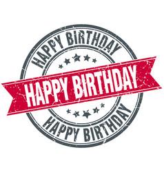 Happy birthday red round ribbon stamp vector
