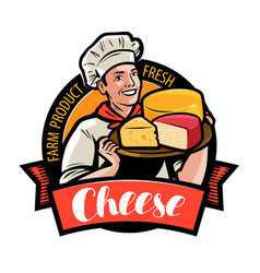 happy chef with cheese in hand farm food logo or vector image