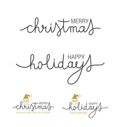 Happy holidays brush calligraphy banner vector