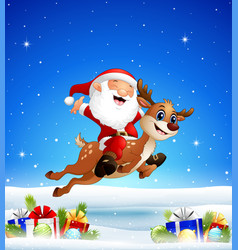 happy santa riding a reindeer in the winter backgr vector image
