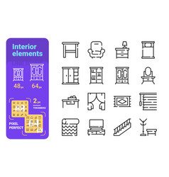home interior elements line icons set vector image