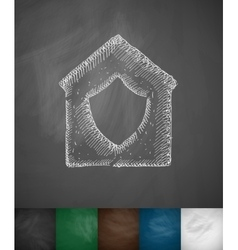 House under protection icon vector