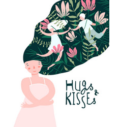 hugs and kisses girl lover dream vector image