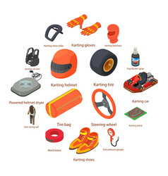 karting equipment icons set isometric style vector image