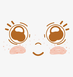 Kawaii happy face with beauty eyes vector
