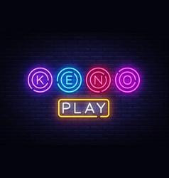 Keno logo keno lottery neon sign design vector
