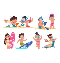 Kids at beach flat children character on summer vector