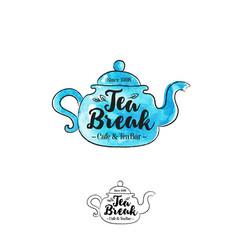 Logo tea break blue teapot vector