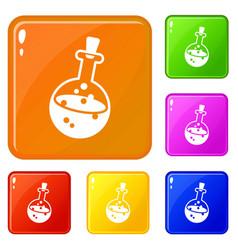 magic potion icons set color vector image
