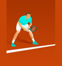 Male tennis player waiting for serve vector