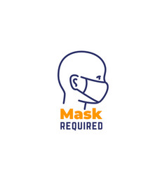 mask required sign line icon on white vector image