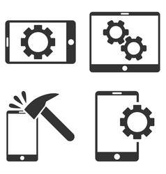 Mobile options flat icon set vector
