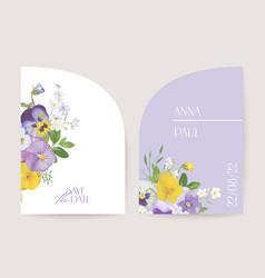 modern minimal violet floral art deco wedding vector image