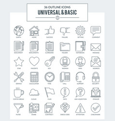 outline icons basic vector image