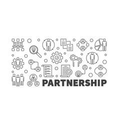 Partnership horizontal outline banner or vector