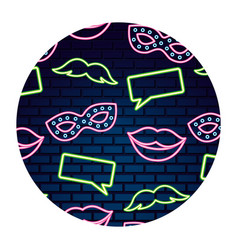 party lips mustache neon brick wall vector image