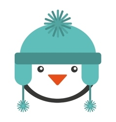 penguins christmas character isolated icon vector image