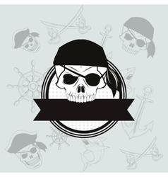 Pirate skull emblem image vector