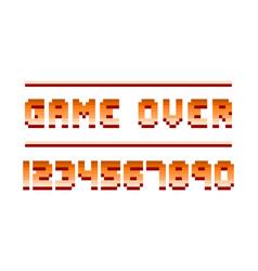 pixel retro font computer game numbers design vector image