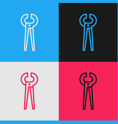 Pop art line pincers and pliers icon isolated on vector
