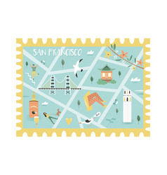 postal stamp with san francisco map and symbols vector image