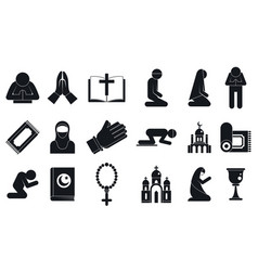 Prayer icons set simple style vector