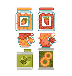 Preserves or preserved food jars bottles jams and vector