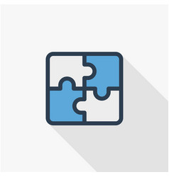 Puzzle part jigsaw piece solution thin line flat vector