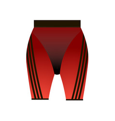 Red woman shorts with black striped design for vector