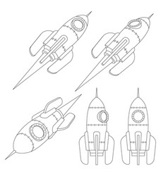 rocket spacecraft is a contour 3d drawing vector image