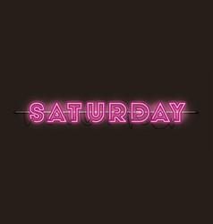 Saturday fonts neon lights vector