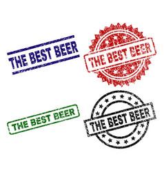 Scratched textured the best beer stamp seals vector