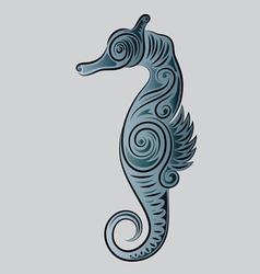Sea horse ornament vector image vector image