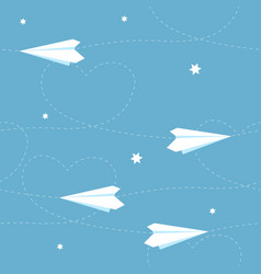 seamless paper airplane background with hearts vector image