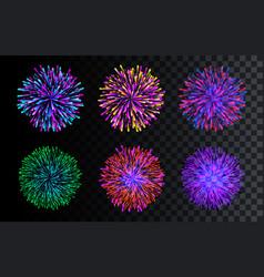 set isolated fireworks celebration christmas vector image