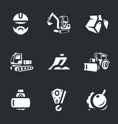 Set of construction machinery icons vector