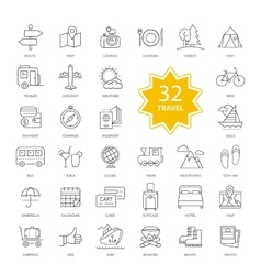 Set of travel items icons vector