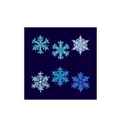 Six beautiful snowflakes on dark blue vector
