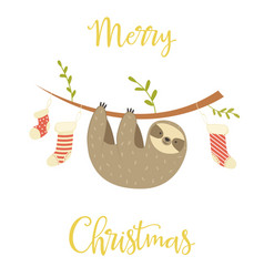 sloth hanging on the tree christmas greeting card vector image