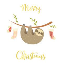 sloth hanging on tree christmas greeting card vector image