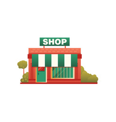 small shop city public building front view vector image