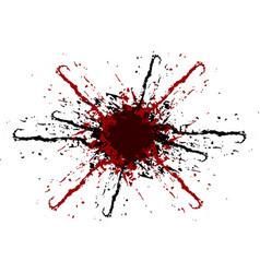 Splatter black and red color background vector