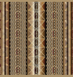 Striped geometric 3d greek key seamless borders vector