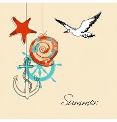 Summer background on marine theme vector