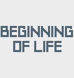 Text beginning life old computer font squares vector