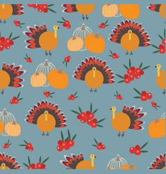 thanksgiving pumpkins cranberries turkey seameless vector image